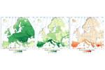 Obrázek 1. Druhy sladkovodních ryb napříč Evropou, které jsou ke změně klimatu citlivé (prostřední panel) nebo naopak necitlivé (levý panel), a relativní podíl citlivých druhů vůči celkovému počtu druhů v lokalitě (pravá mapa). Obrázek 1. Druhy sladkovodních ryb napříč Evropou, které jsou ke změně klimatu citlivé (prostřední panel) nebo naopak necitlivé (levý panel), a relativní podíl citlivých druhů vůči celkovému počtu druhů v lokalitě (pravá mapa).